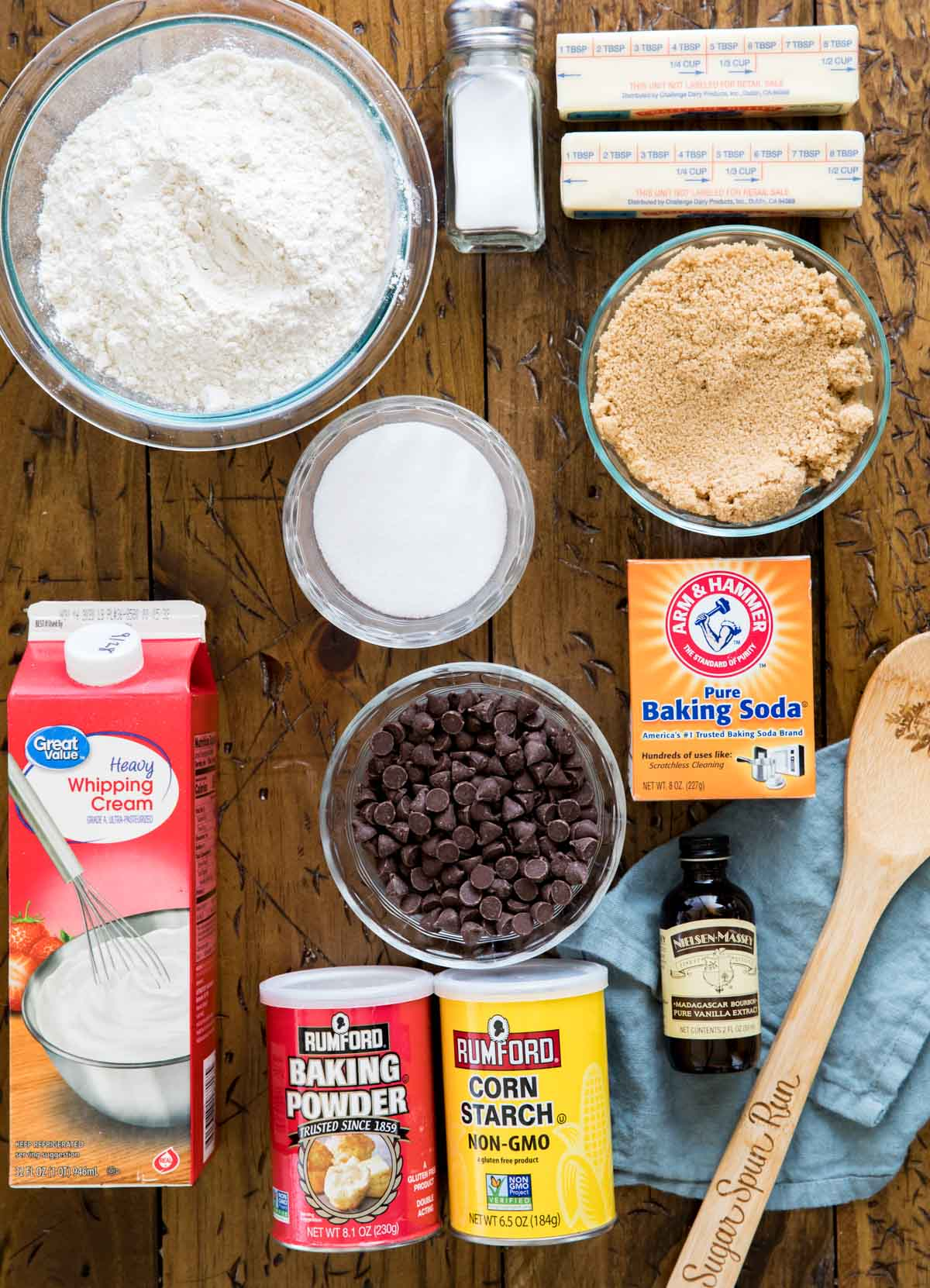 ingredients for eggless chocolate chip cookies