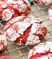 red velvet cookies on cooling rack