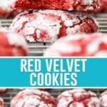 collage of red velvet cookies, top image is close up image of two stacked with top cookie missing a bite, bottom image is of multiple cookies on rack cooling