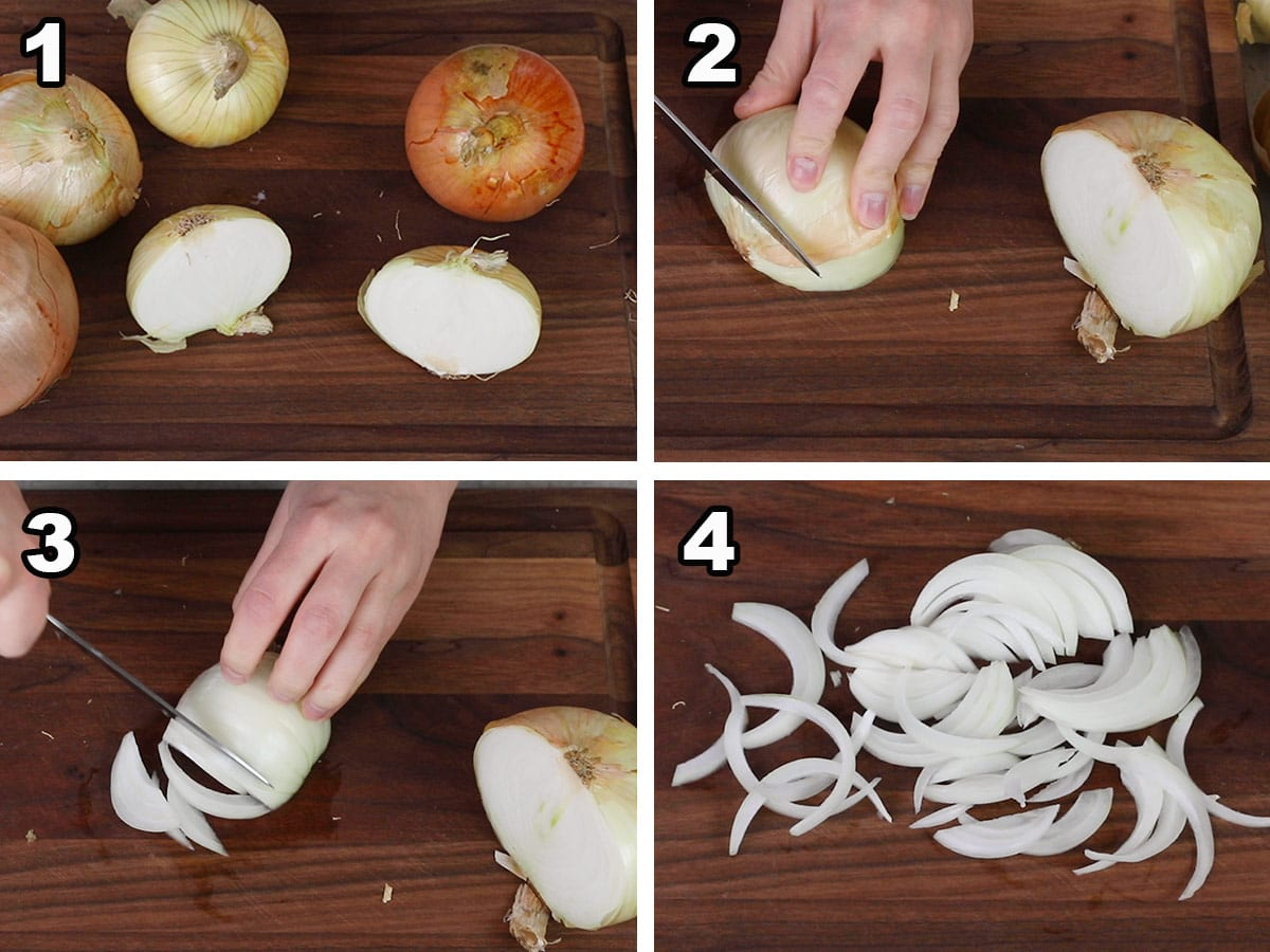 slicing onions for french onion soup