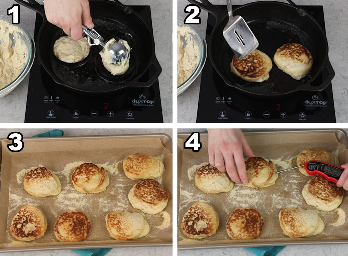 English muffins being cooked in a pan and English muffins on a tray