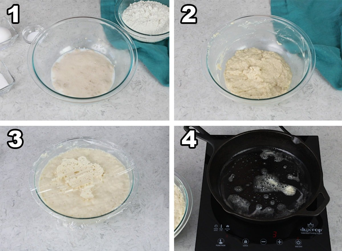 English Muffin Batter in glass bowl uncovered and covered and a pan