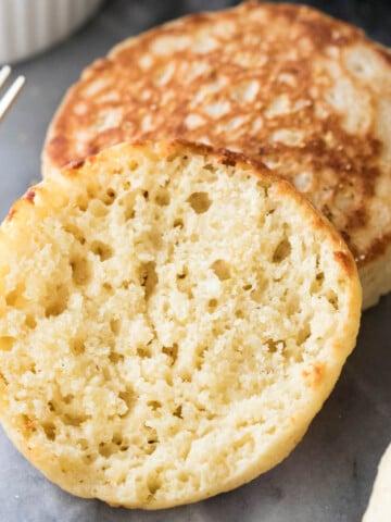 Finished English muffin closeup