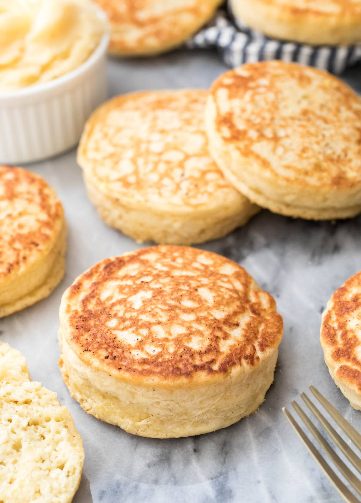 Closeup of English muffin