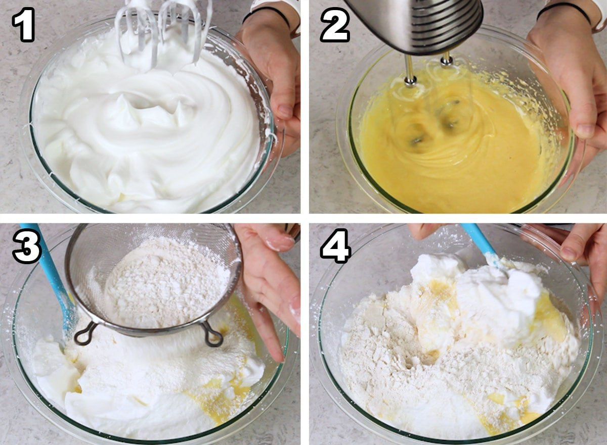 Collage showing how to make ladyfinger batter: 1) stiff peaks, 2) lightened egg yolks, 3) sifting flour/cornstarch over ingredients, 4) folding all together