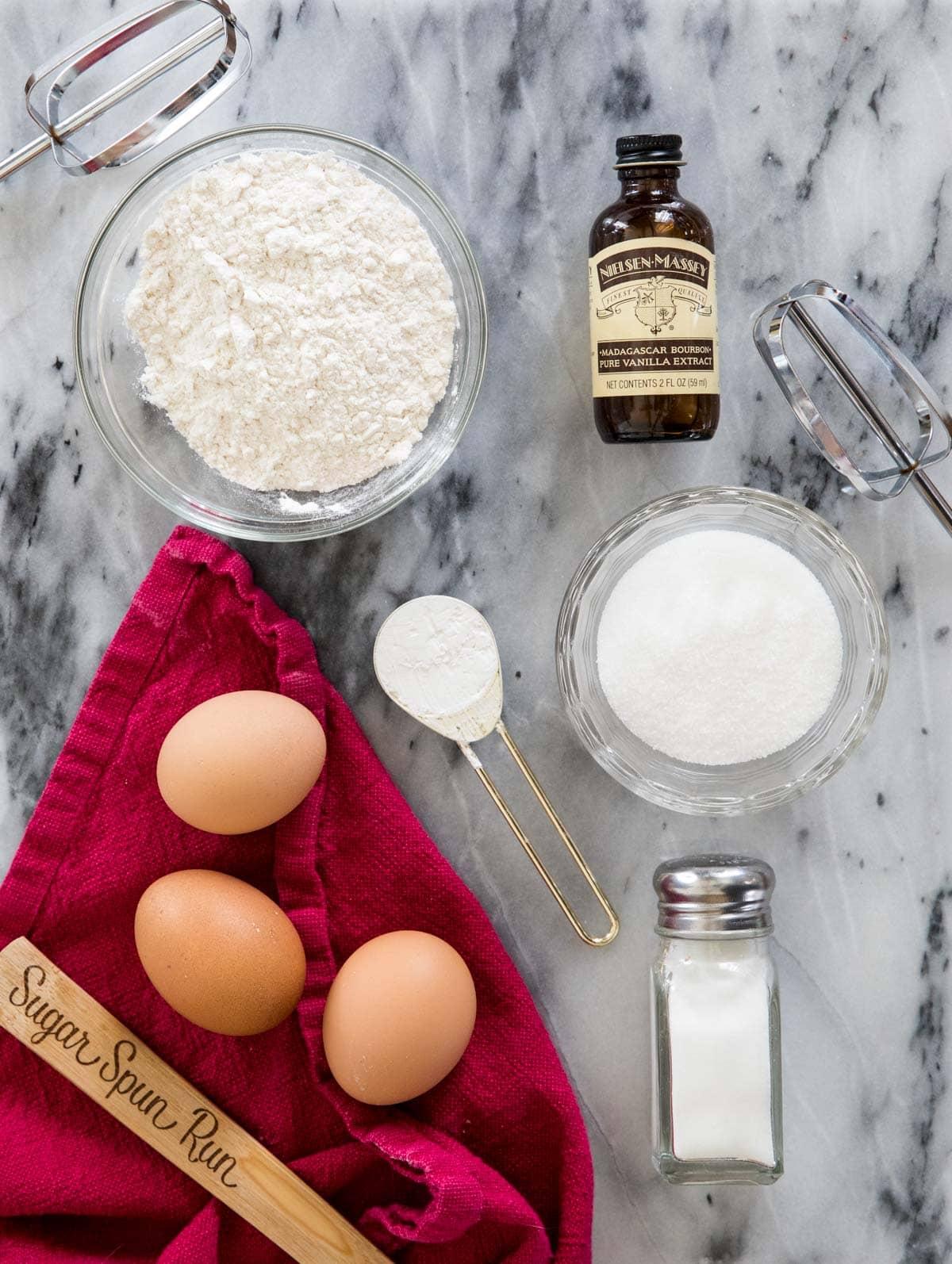 Ingredients for ladyfingers: flour, vanilla, cornstarch, granulated sugar, eggs, salt