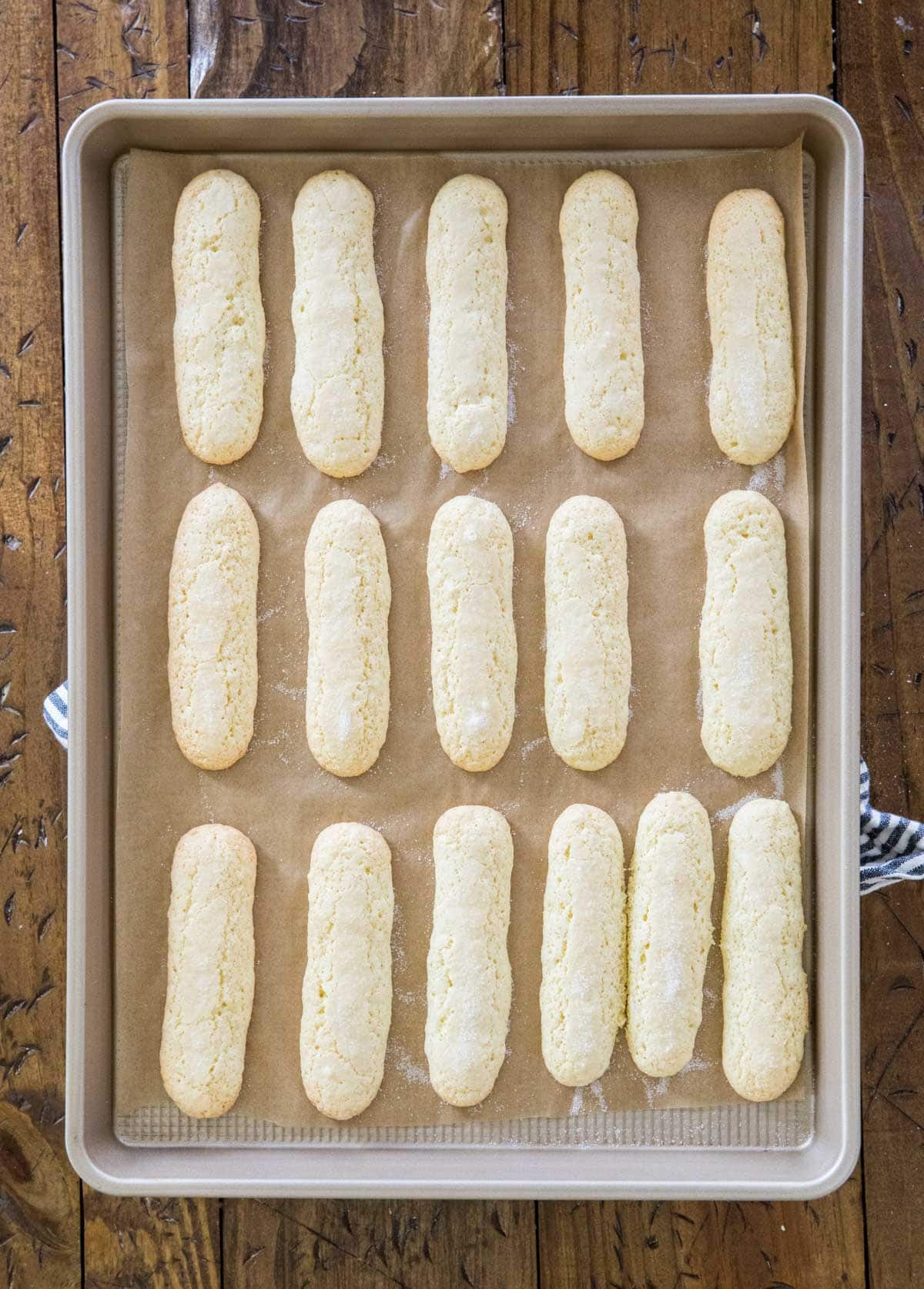 Ladyfingers on baking tray