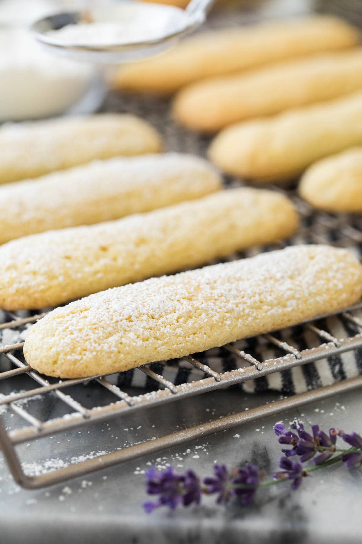 Ladyfingers on cooling rack