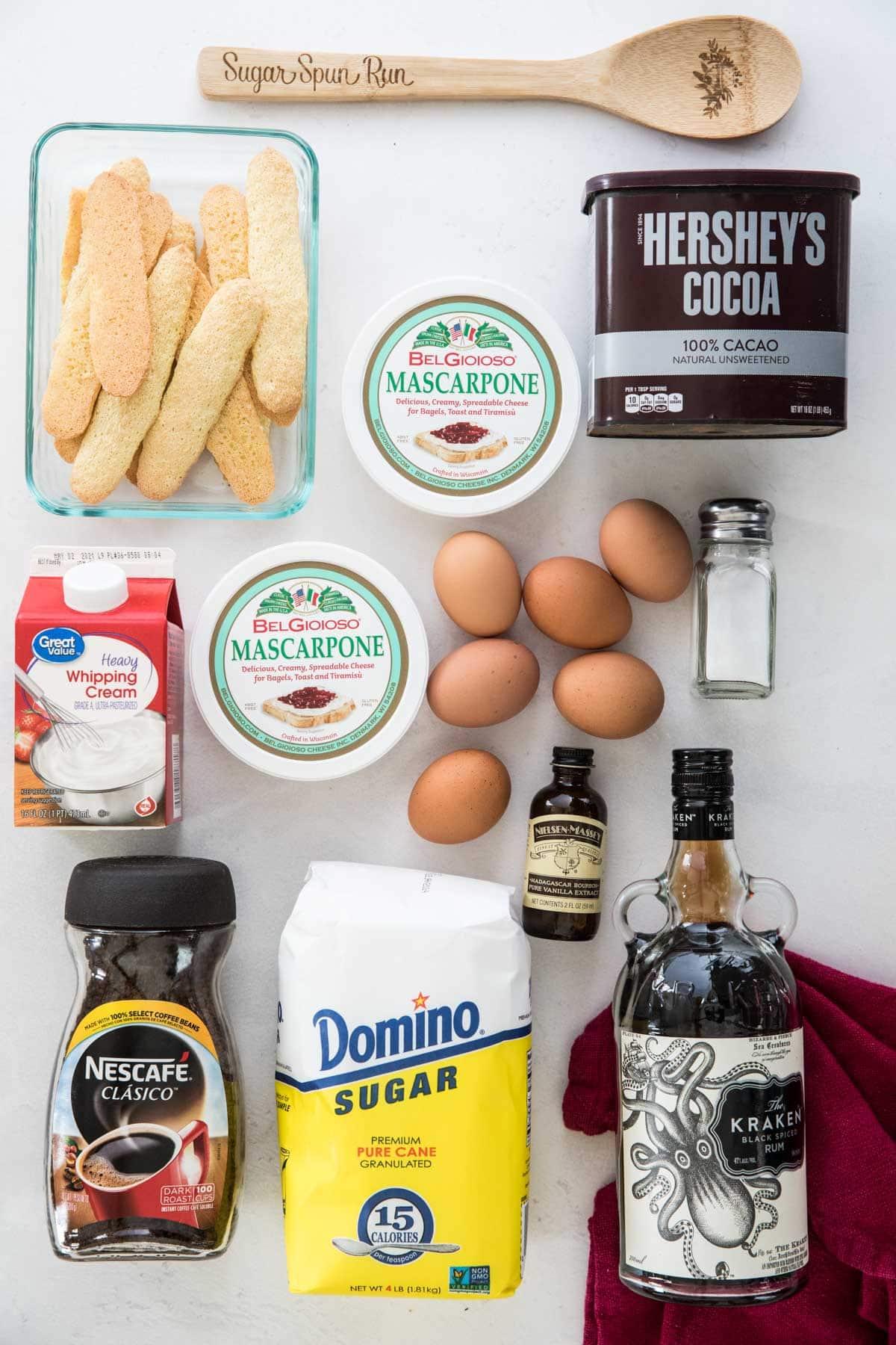 ingredients for tiramisu: ladyfingers, mascarpone, cocoa, cream, eggs, salt, vanilla, instant coffee, sugar, rum