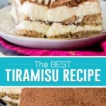 collage of tiramisu, top image of slice on plate with fork in it, bottom image of it in baking dish