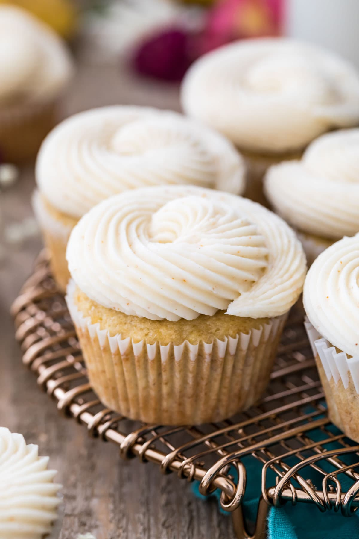 Tray of frosted banana cupcakes