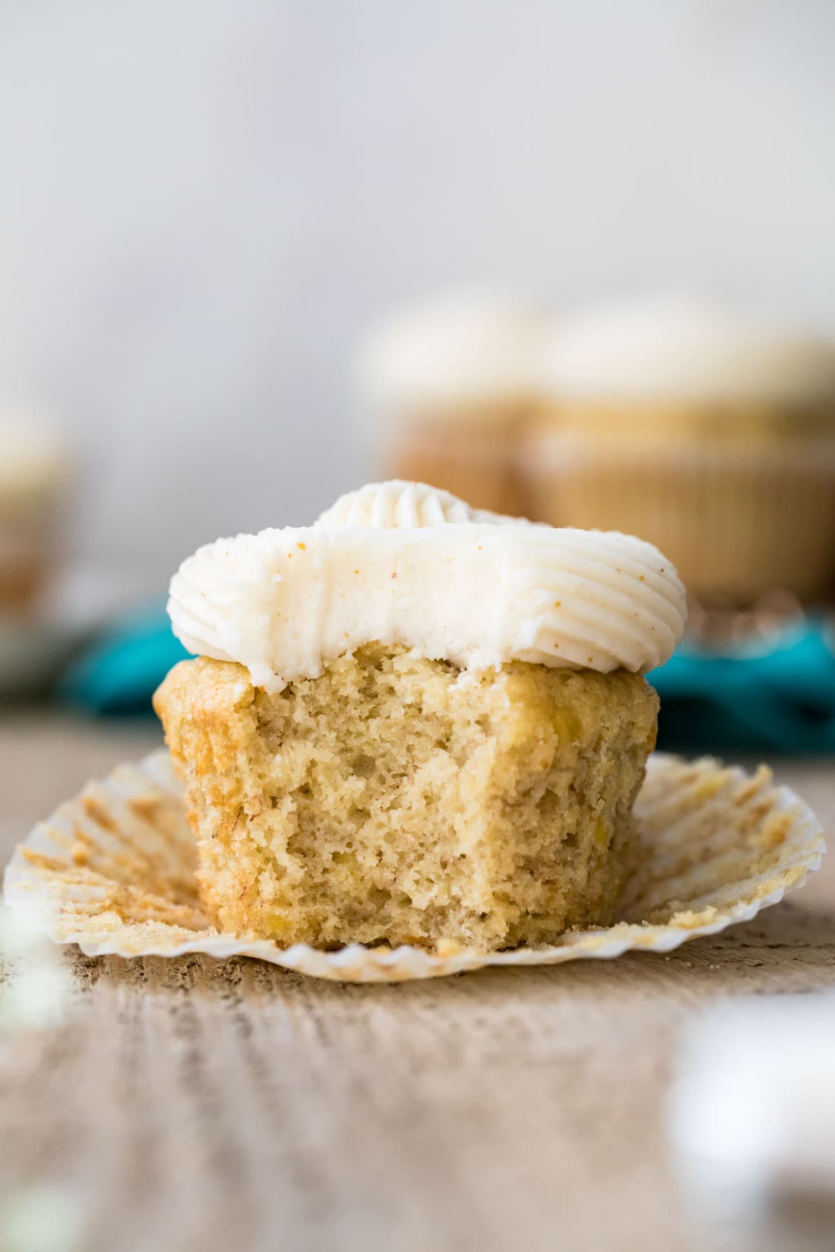 Cupcake with bite taken out of it