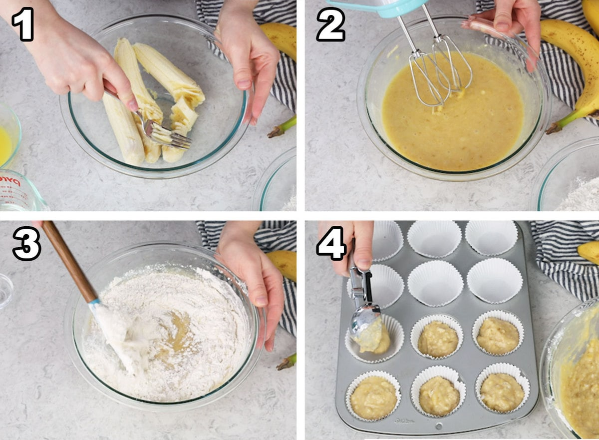Mashing bananas, mixing the wet ingredients, adding the flour, and adding banana cupcake batter to the liners.