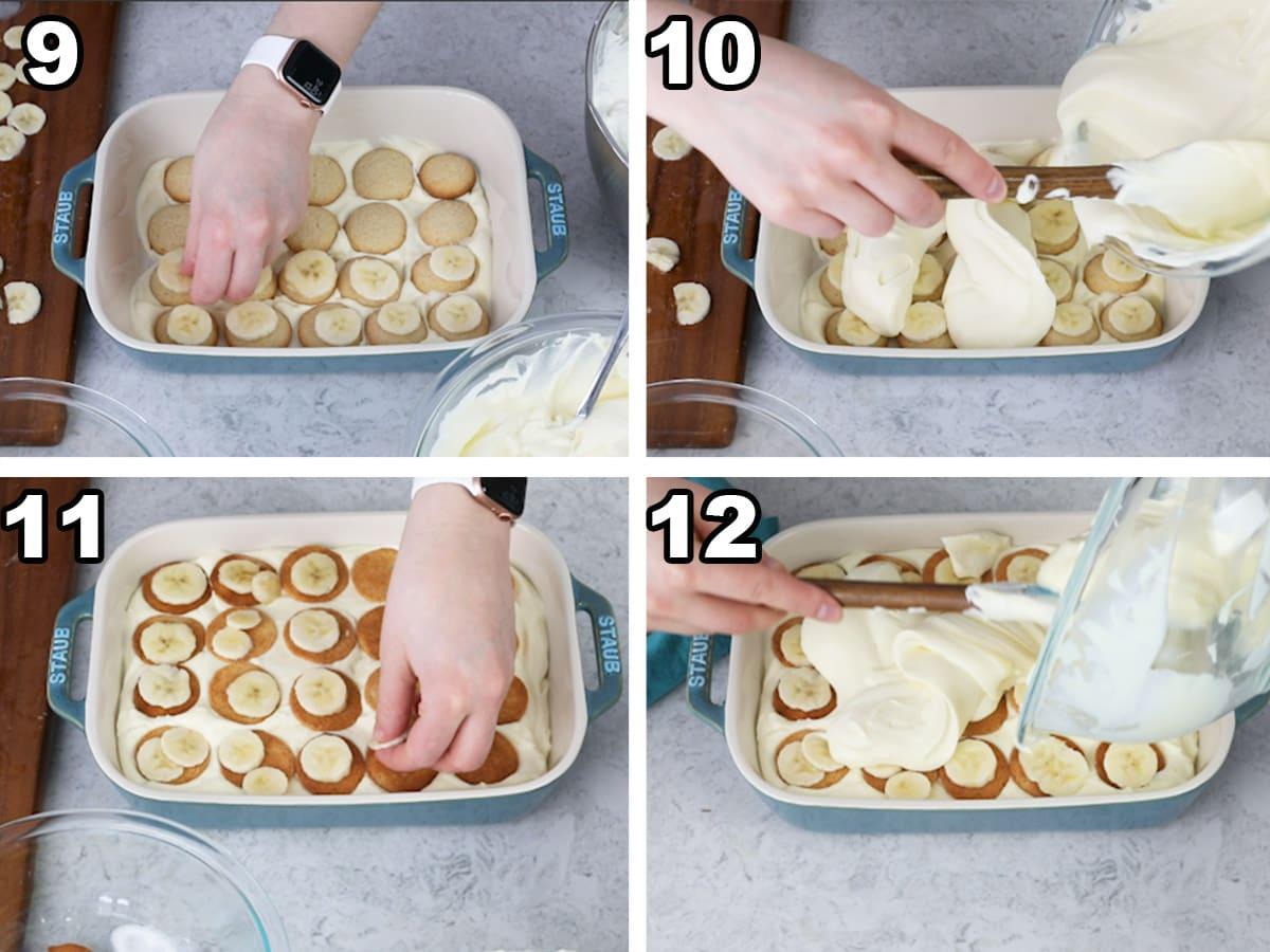 Layering the banana pudding with banana slices, vanilla wafers, and pudding.
