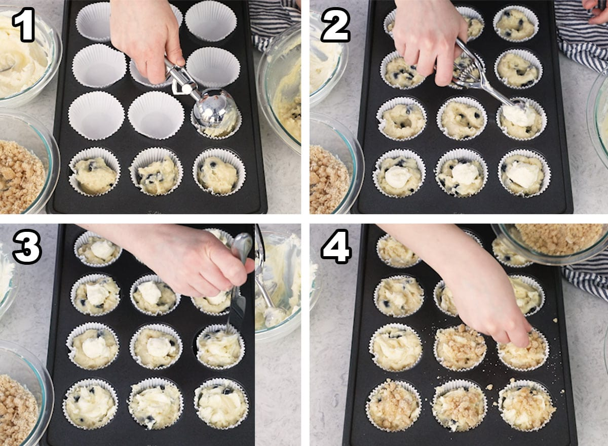 Scooping the muffin batter into paper muffin liners, adding the cream cheese, and topping with streusel.