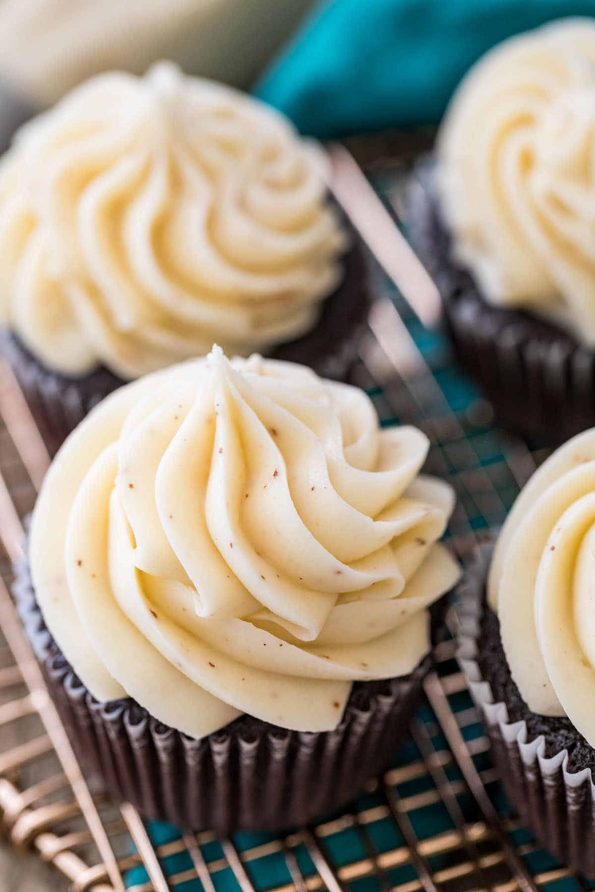 brown butter frosting on chocolate cupcake