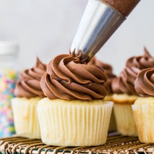 Chocolate frosting being piped onto vanilla cupcakes.