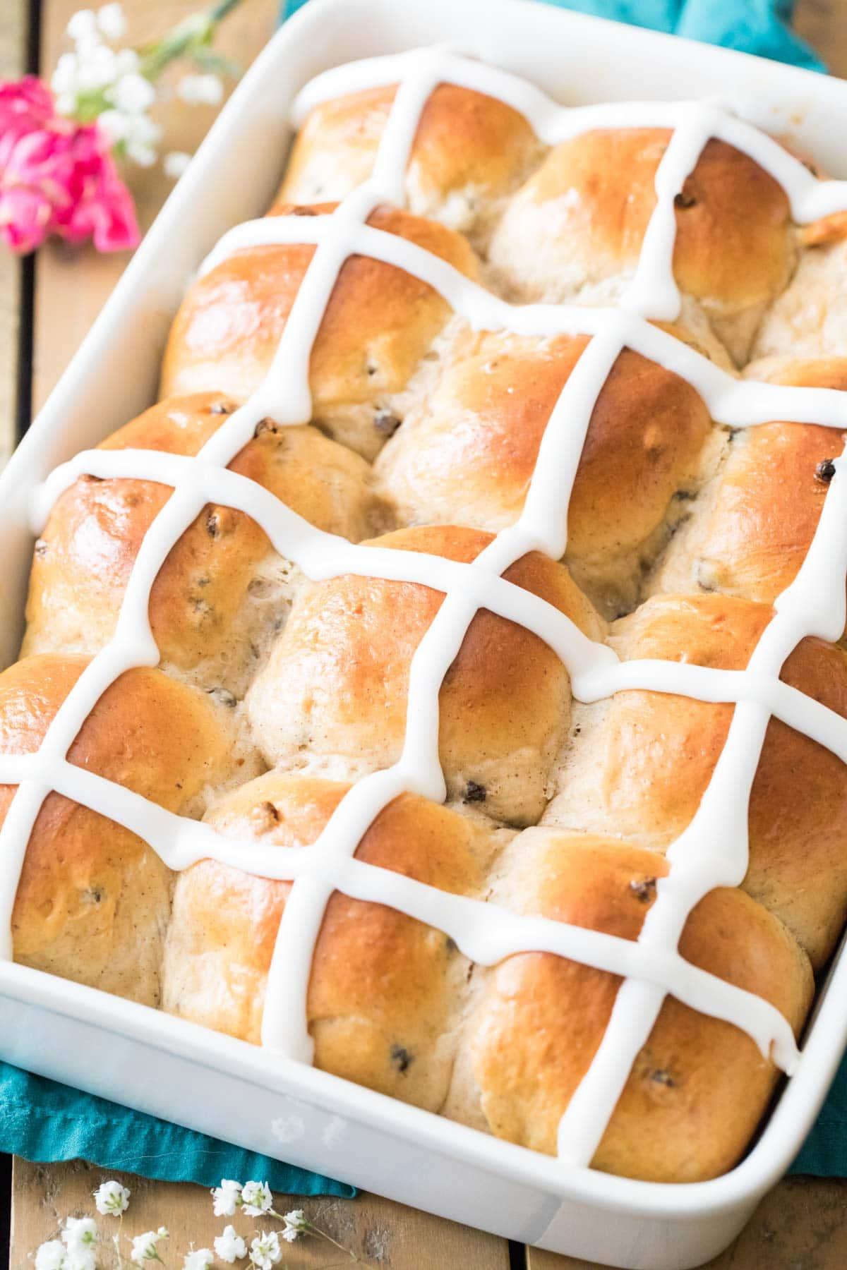 Iced hot cross buns.