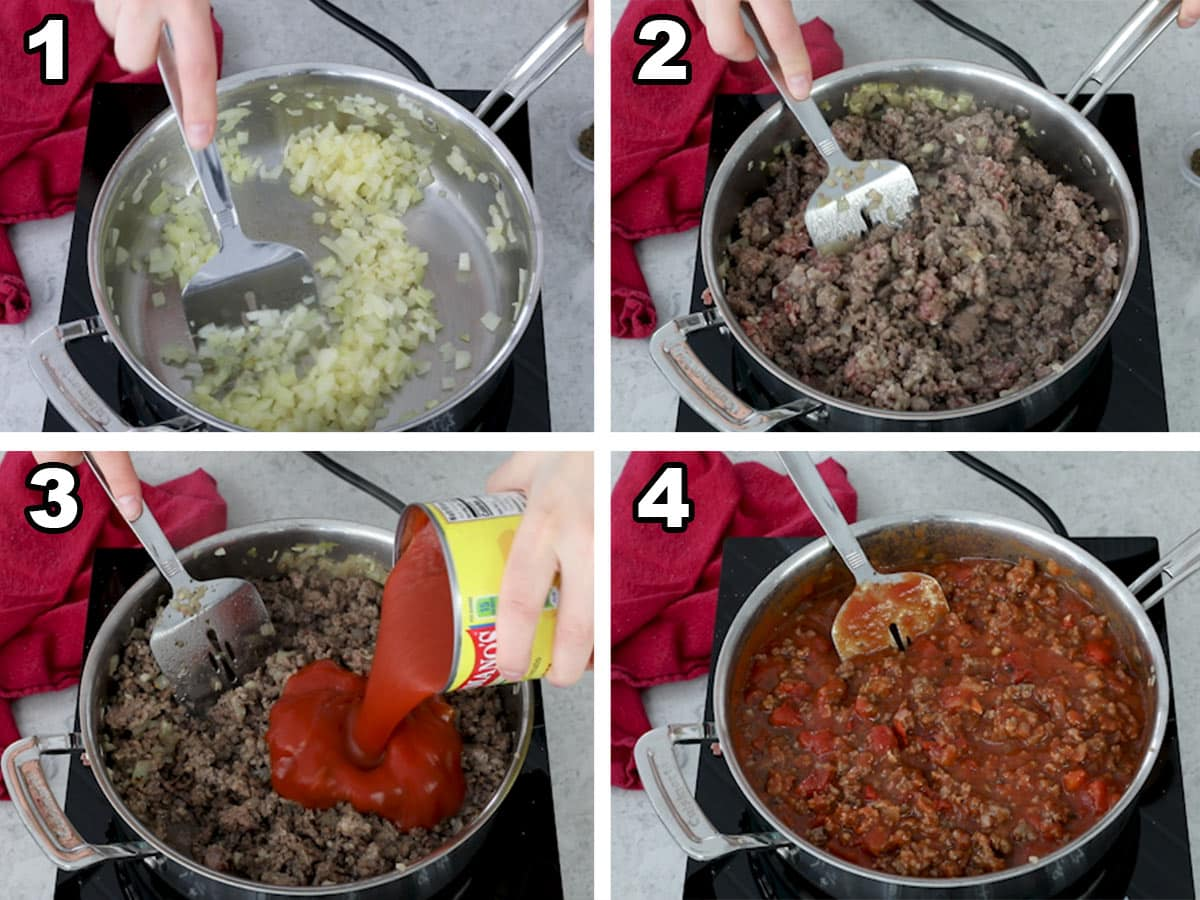 Making sauce and meat filling