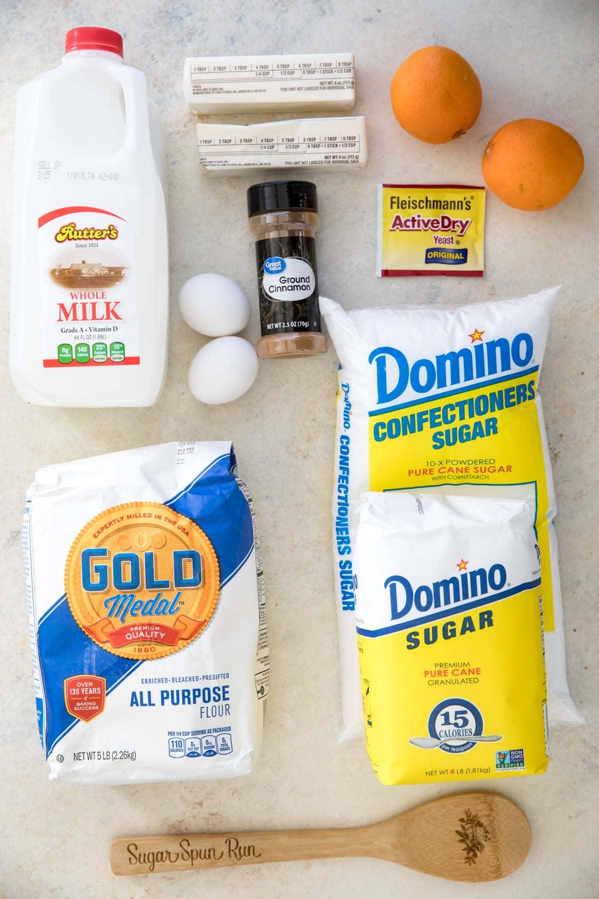 Ingredients for orange sweet rolls