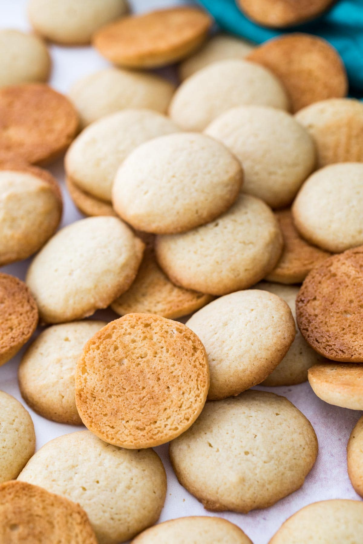 Closeup of wafers showing tops and bottoms