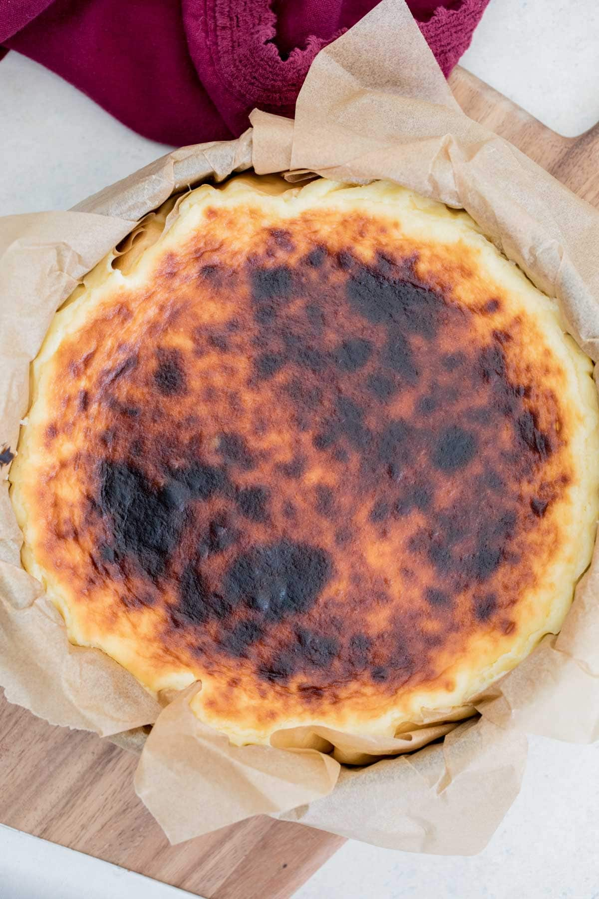 Finished basque cheesecake