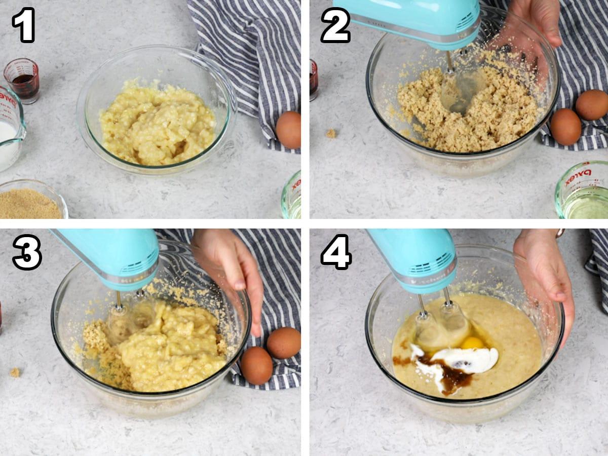 Mashing the bananas, mixing the bananas and sugar, beating the mixture, adding the eggs and vanilla.