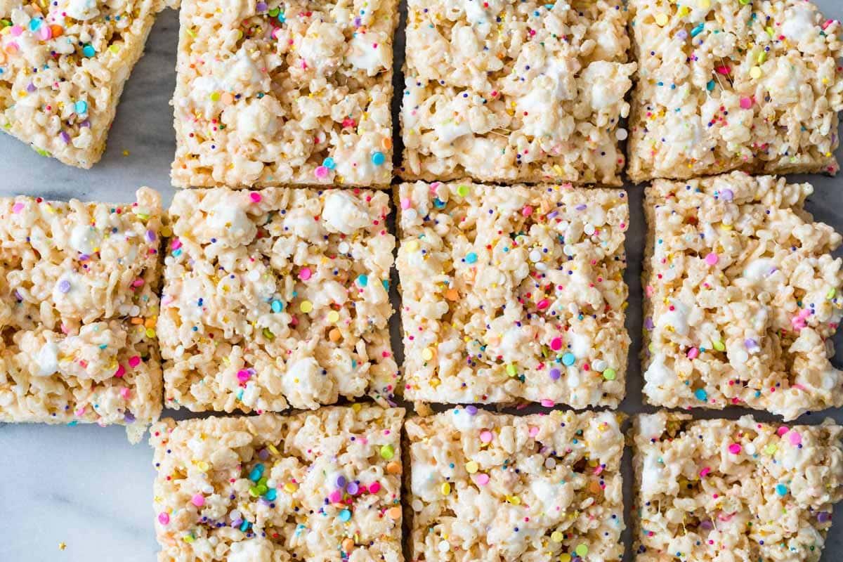 Closeup of Rice Krispie Treats.