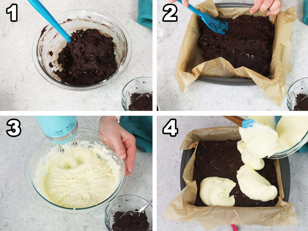 Collage with 4 photos: 1)Mixing the brownie batter, 2) spreading the brownie batter in the pan, 3) mixing the cheesecake layer, 4) adding the cheesecake on top of the brownie batter.