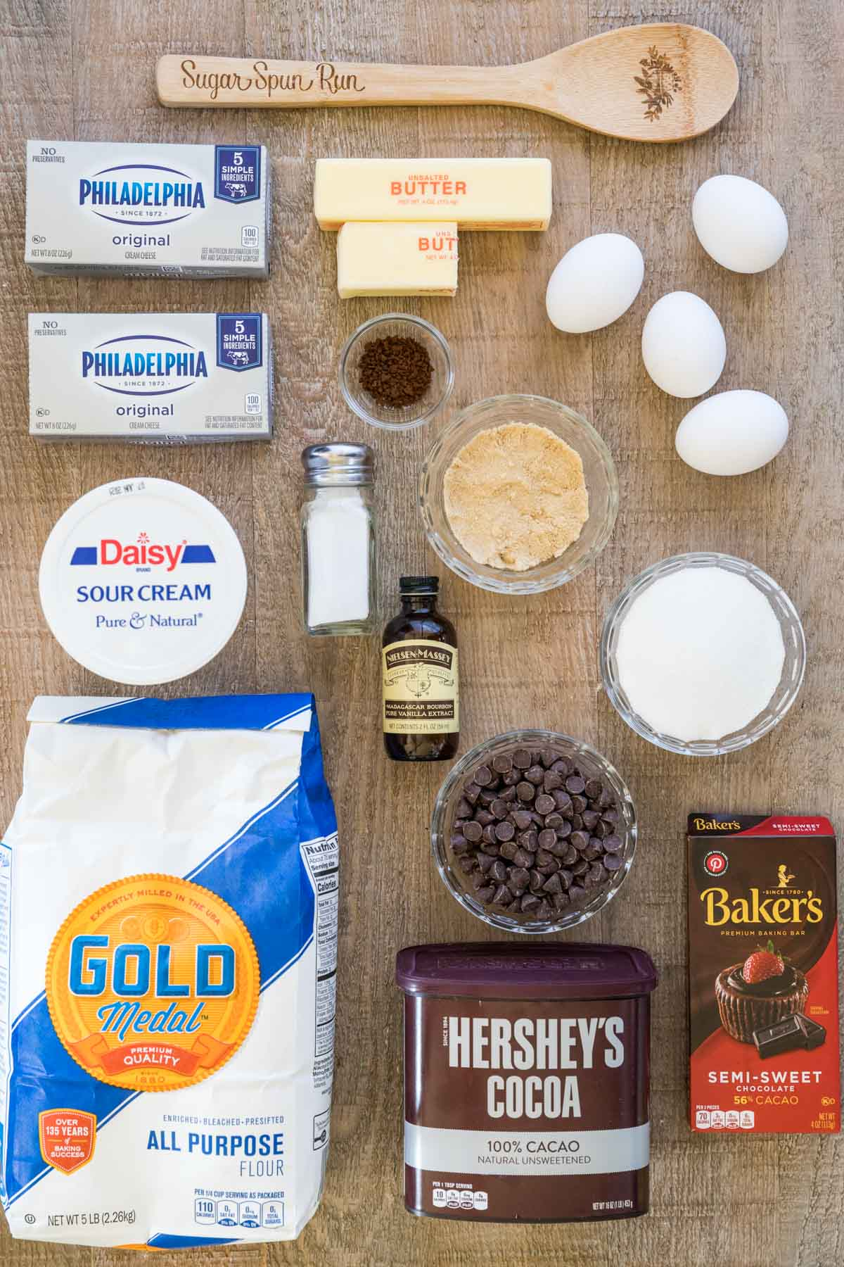 Ingredients for cheesecake brownies.