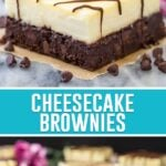 collage of cheesecake brownies, top image is of full single slice, bottom image is of slices spread out on marble slab