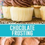 collage of chocolate frosting, top image of frosting being piped on cupcake, bottom image is a close up of frosting