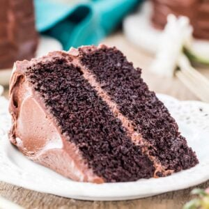 Devil's food cake on a white plate