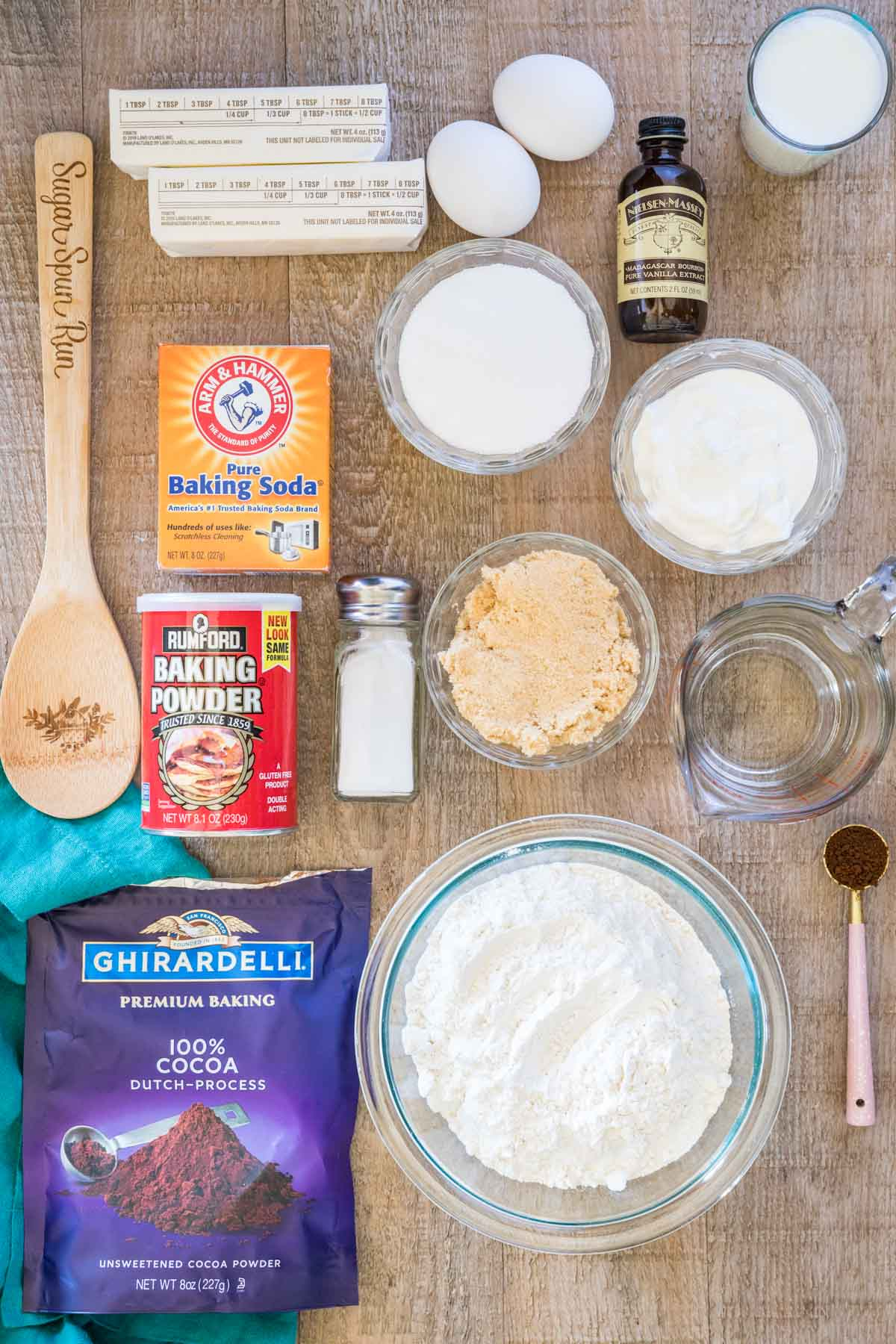 Ingredients for devil's food cake