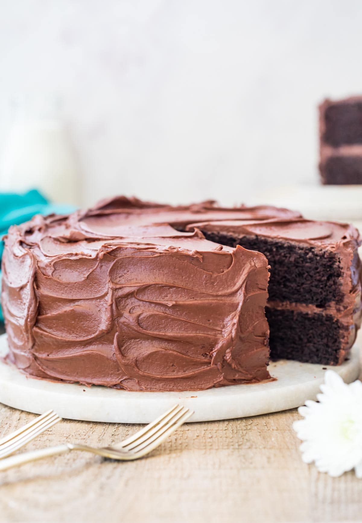 Devil's food cake with a slice taken out