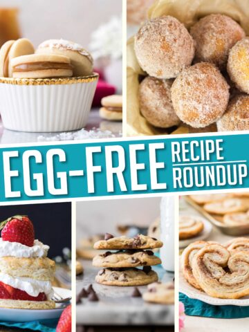 collage of egg-free recipes