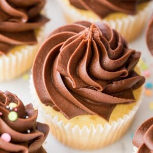 Closeup of chocolate fudge frosting on a cupcake