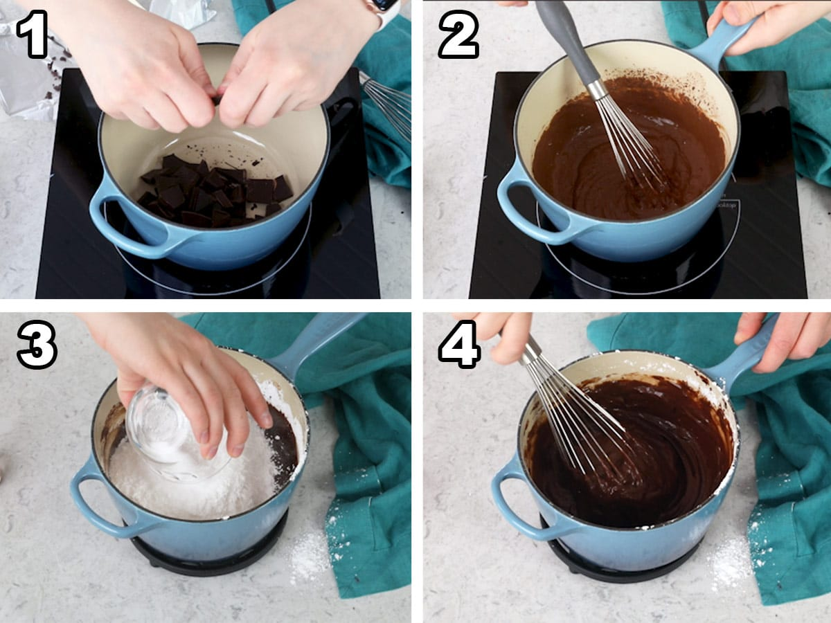 Breaking apart the chocolate into a saucepan, melting the chocolate, adding the powdered sugar, powdered sugar mixed in.