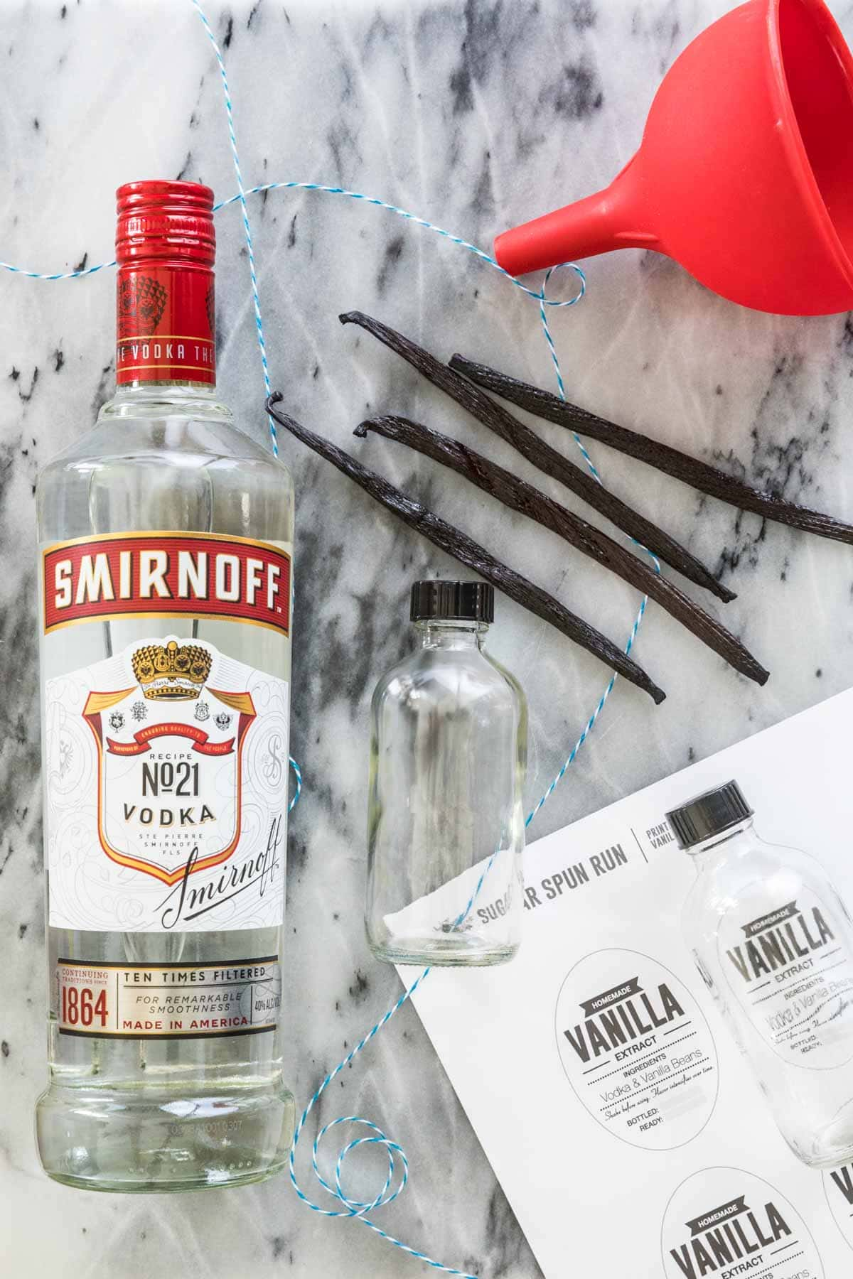 Ingredients for vanilla extract