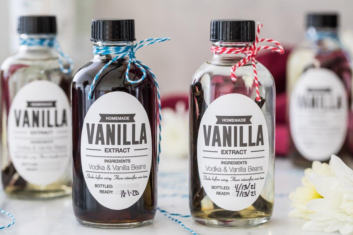 Closeup of homemade vanilla extract bottles