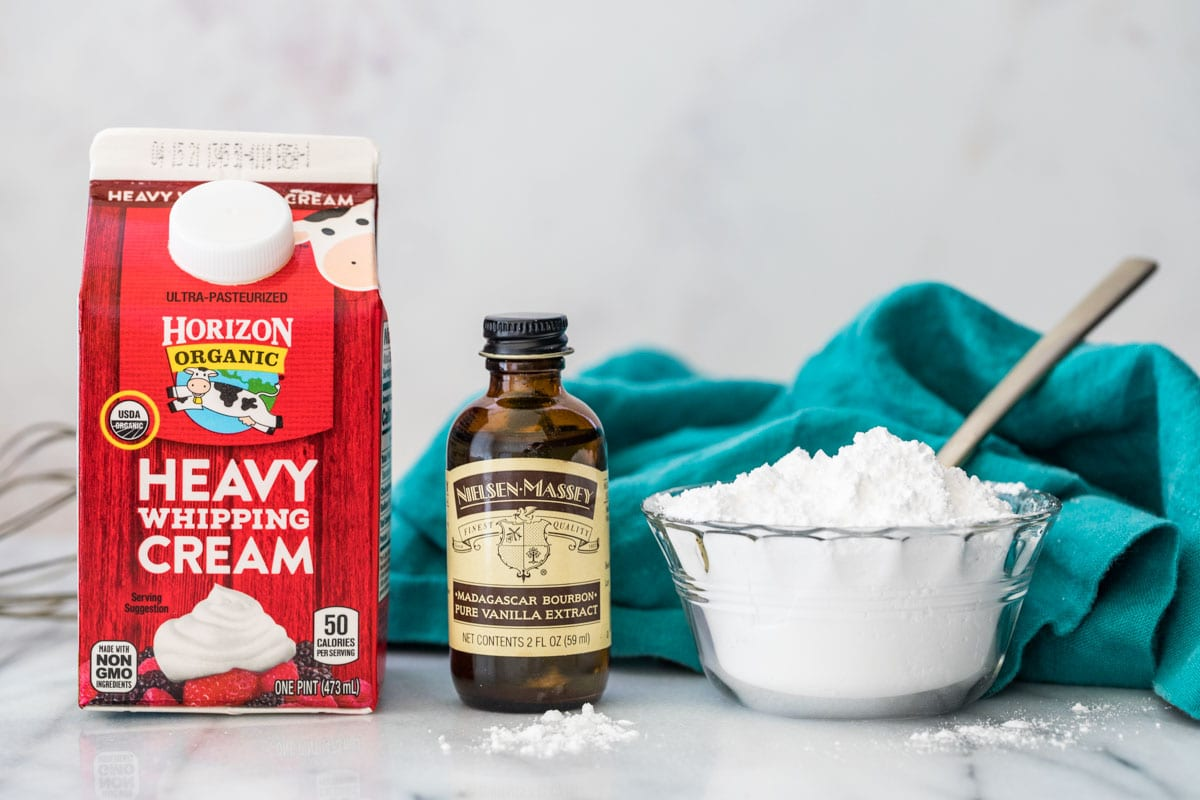 Ingredients for whipped cream recipe.