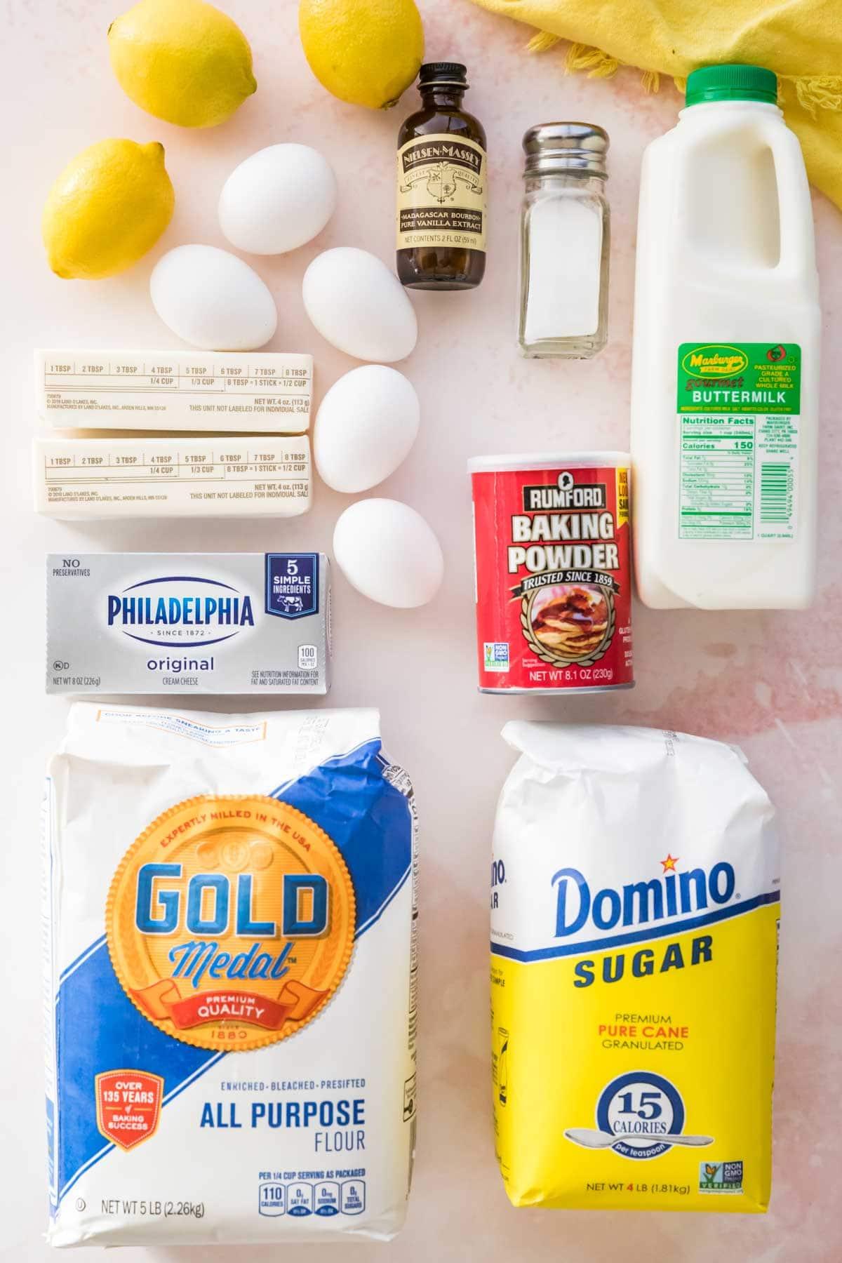 Lemon pound cake ingredients.