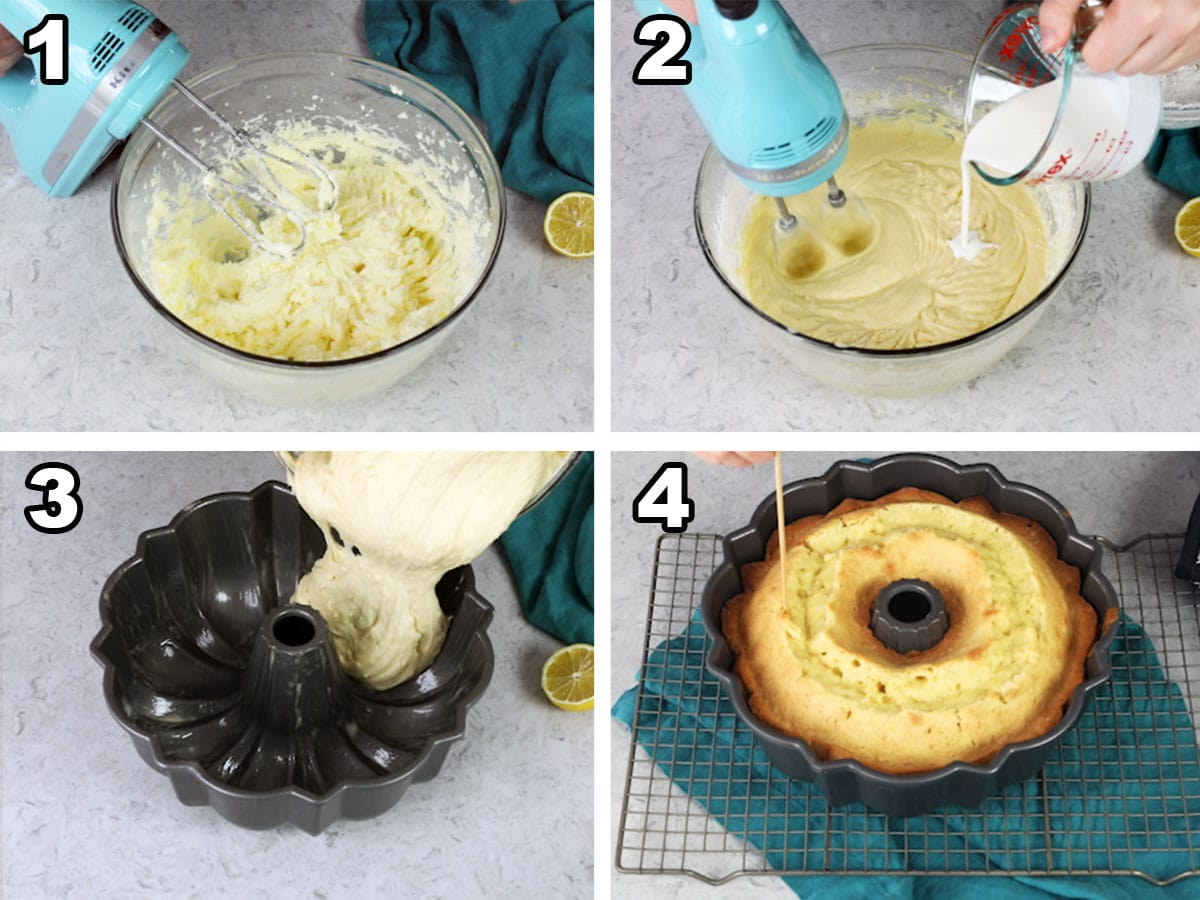 Mixing the butter, cream cheese, sugar, and lemon zest, alternating adding milk and flour, pouring the batter into a bundt pan, and checking for doneness with a wooden skewer.
