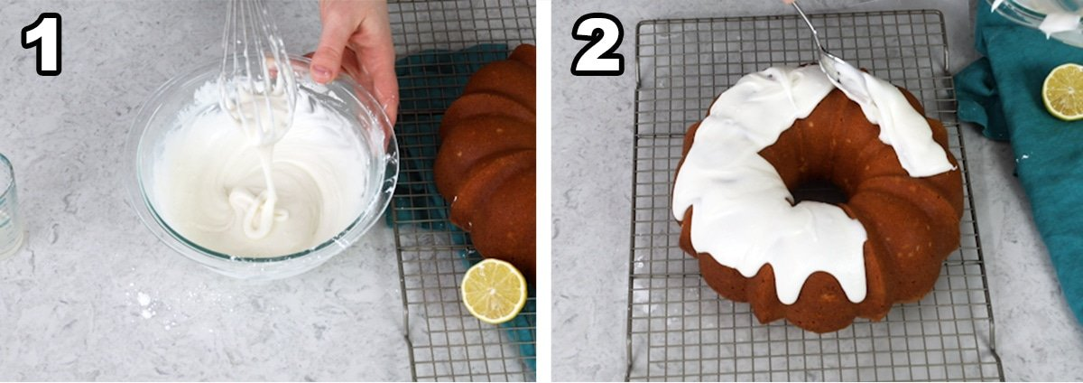 Ribbons of glaze falling off of the whisk, and adding the glaze to the finished pound cake.