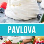 collage of pavlova, top image close up of single dessert, bottom of multiple spaced out on marble