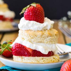 Assembled strawberry shortcake.