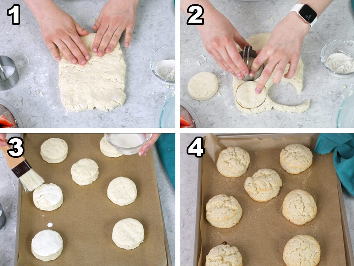 Pressing down shortcake dough, cutting out dough with biscuit cutter, topping the biscuits with sugar, baking the biscuits.