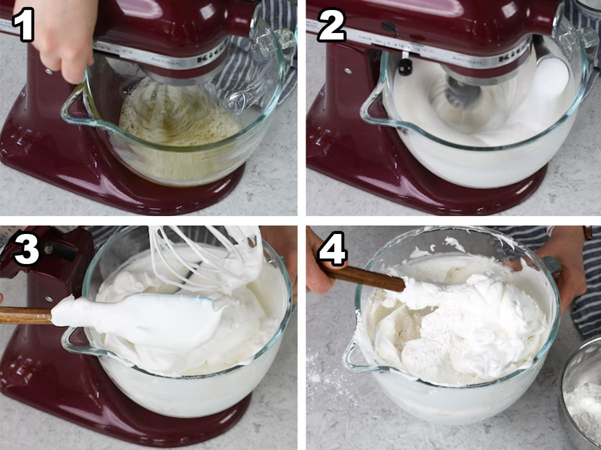 Beating the eggs whites, adding the sugar, consistency, finished product.