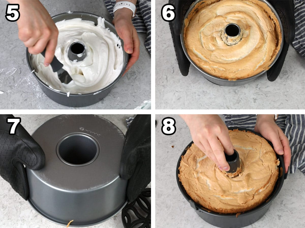 Spreading the batter in the pan, finished cake, turning upside down to cool, taking the cake out of the pan.