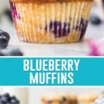 collage of blueberry muffins, top image of single muffin, bottom image of multiple muffins